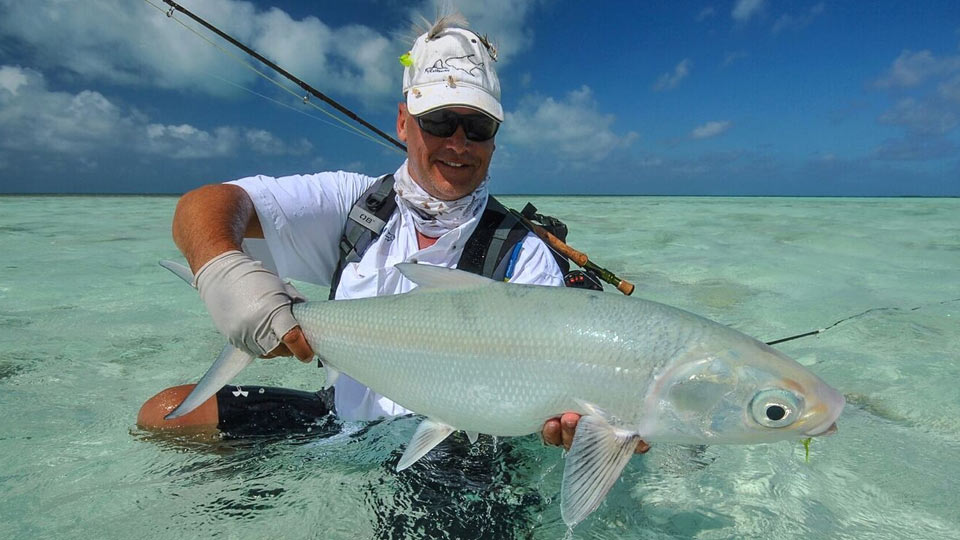 Angler with Large Milkfish