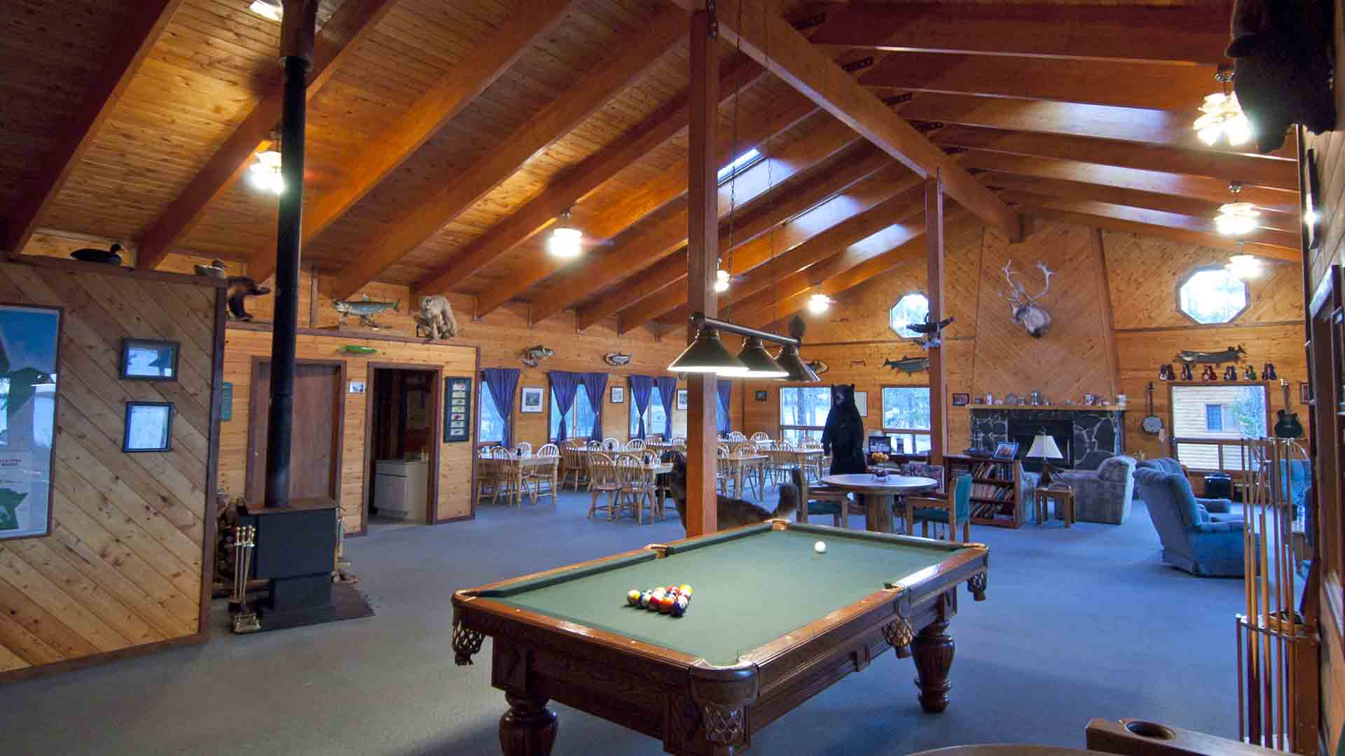 Pooltable in Large Vaulted Dining Room