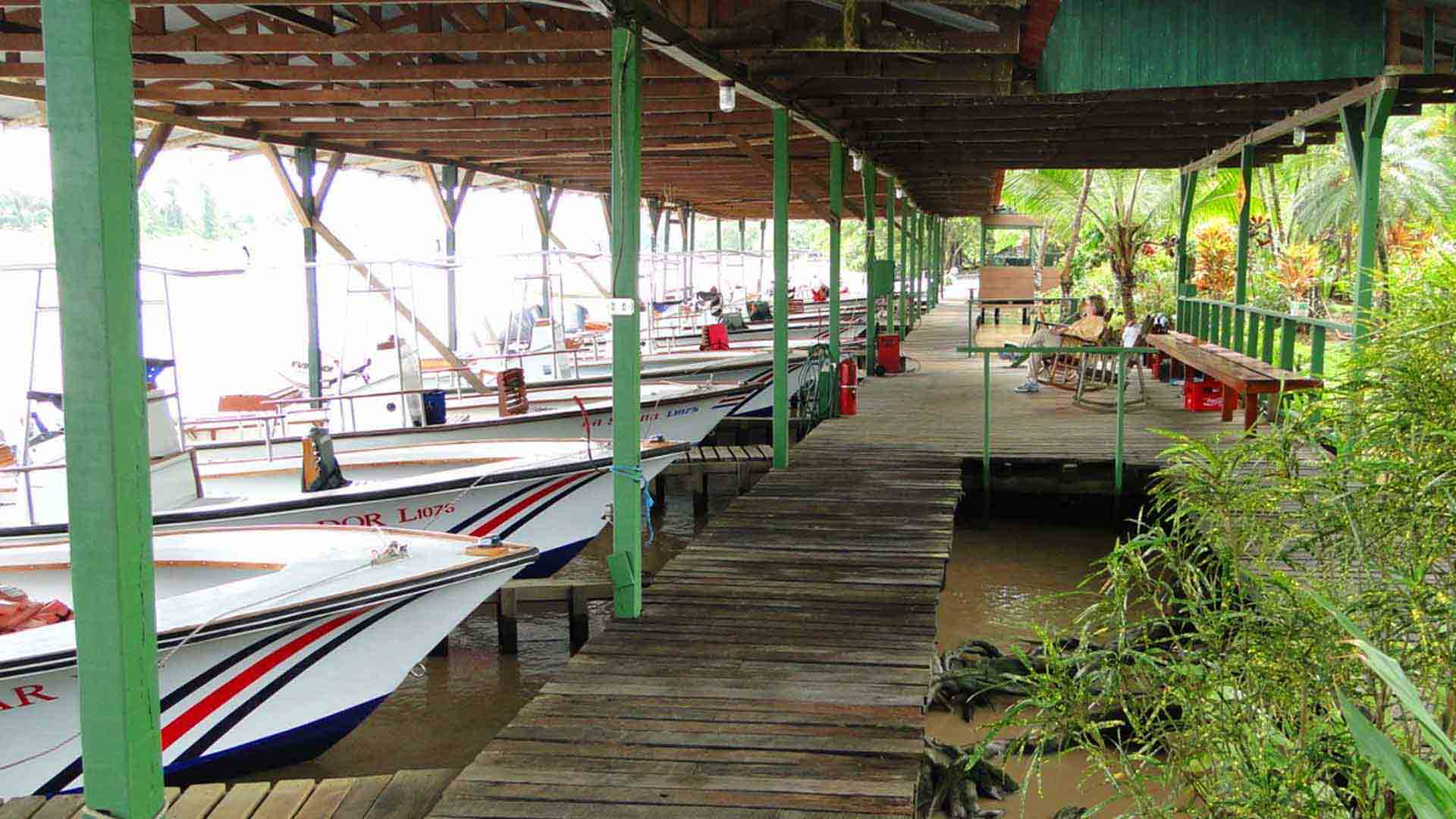 Covered Boat Dock with Fleet of Boats