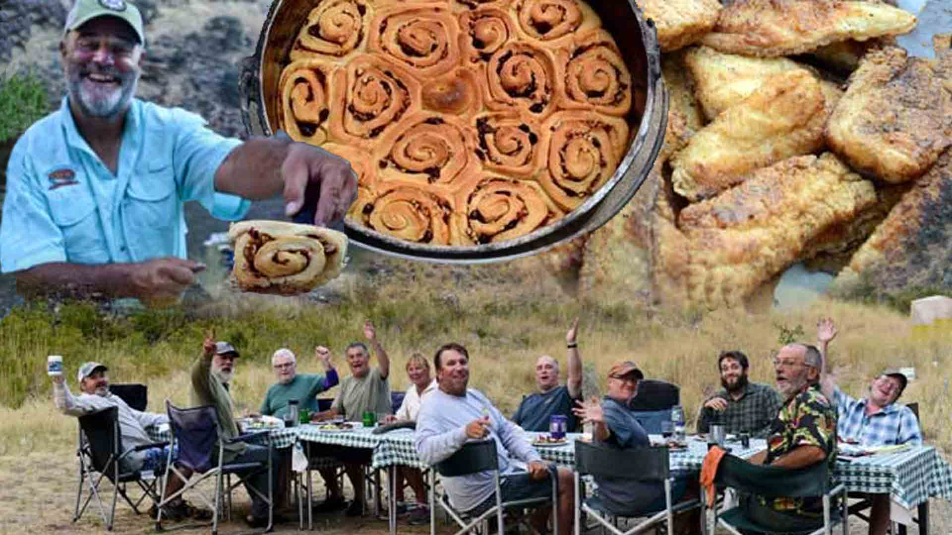 Group around the table and Cinnamon Rolls