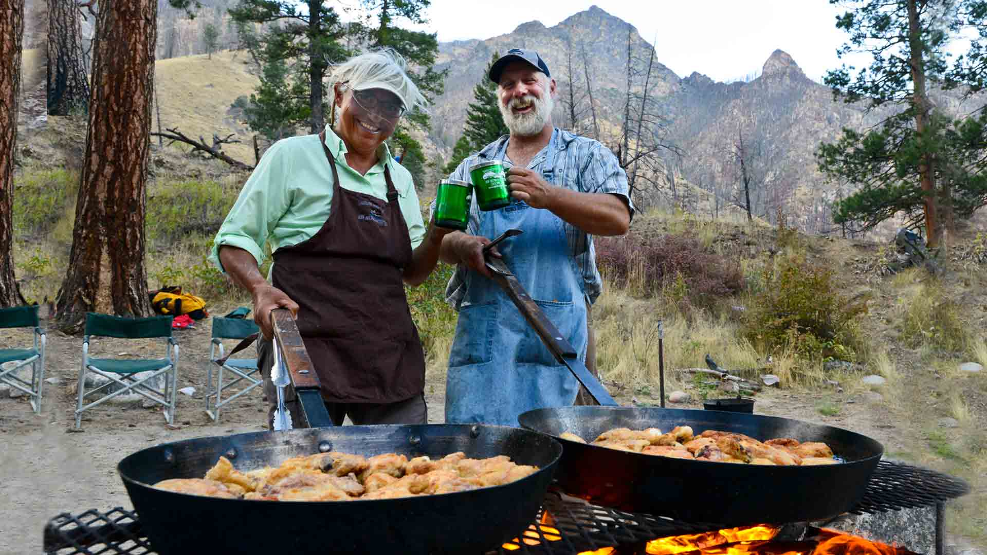 Guides with Large Fry Pans full of Chicken