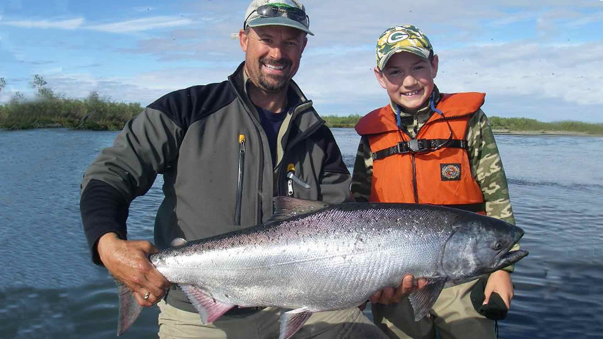 Father and son with King Salmon