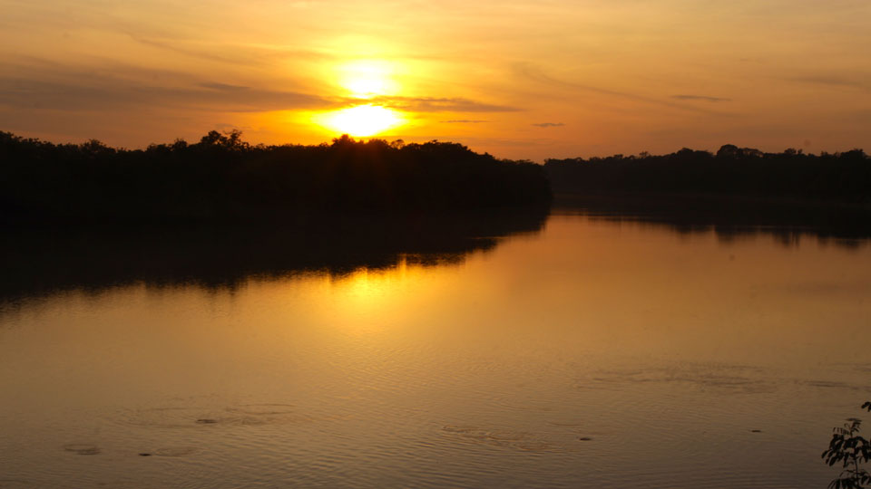 Agua Boa River at Sunset
