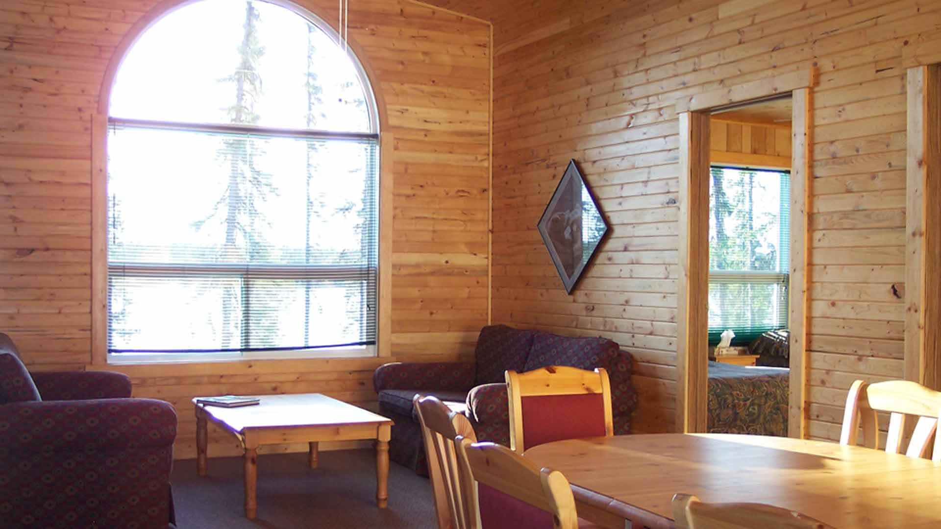 living room inside cabin